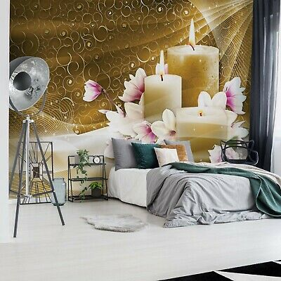Gold Spa Candles Photo Wallpaper Wall Mural Fleece Easy-Install Paper