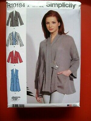 NEW SIMPLICITY SEWING PATTERN R10184 / S8917 MISSES JACKET OR VEST Sz. XS-XL