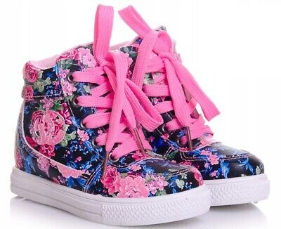 Floral Girls shoes high HI TOP ankle trainers size 10UK Infant KIDS Flowers