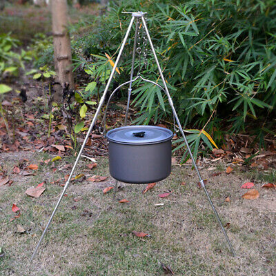 Portable Outdoor Tent Picnic Folding BBQ Camping Tripod Stand Pot Hanger Set