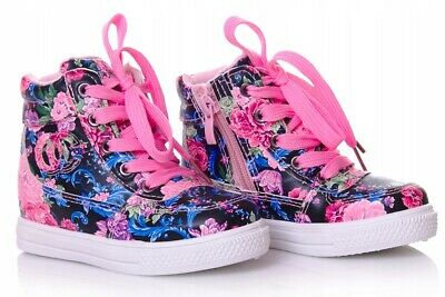 Floral Girls shoes high HI TOP ankle trainers size 9UK Infant KIDS Flowers!