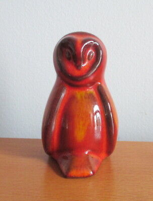 Blue Mountain Pottery Mini Owl Figurine Red Glaze 1970s Vintage BMP Canada