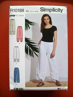NEW SIMPLICITY SEWING PATTERN R10188 / S8922 MISSES PULL ON PANTS Sz. 14-22