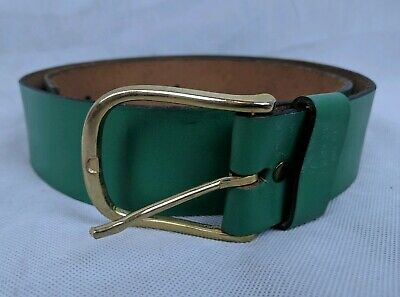 Retro Vintage Green Belt Authentic Leather Cowhide Size 34 Waist