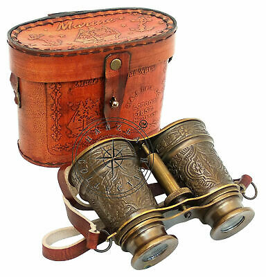Antique Maritime Engraved Solid Brass Binocular With Beautiful Leather Cover