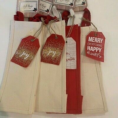 Set of 4  Reusable WINE BOTTLE GIFT BAG Carrier Canvas, Holiday, red