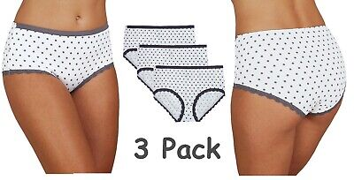 3 PACK M&S MIDI Knickers COTTON Rich Lace Trim Spot Rise Briefs Pants Size 6-22