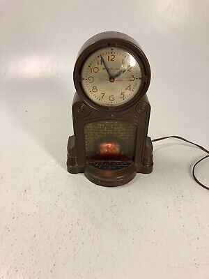 Vintage Mastercrafters Animated Flame Fireplace Clock Motion Light - #272
