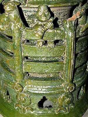 """Chinese Tang Tomb Burial Pottery Tower Column Statue Figures c.7th-10th C 11"""" h"""