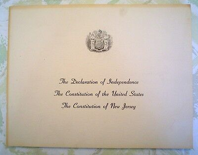 Vintage Constitution of New Jersey/Declaration of Independence-NJ Board of Ed