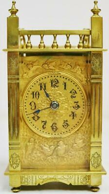 Antique French Carriage Clock 8 Day Embossed Ormolu Mask Dial Timepiece Clock