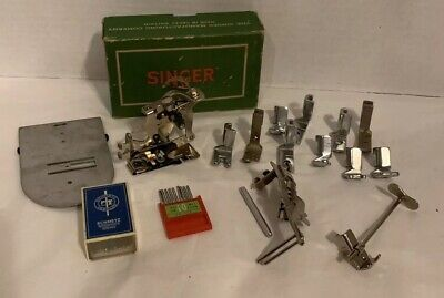 VTG Lot Singer Sewing Machine Pieces Attachments Parts Needles In 206 Singer Box