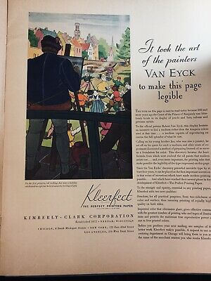1935 Kimberly-Clark Collection Of 12 Full Page Color Ads For Kleerfect Paper