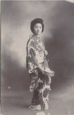 Vintage Postcard - Young Japanese Girl in Kimono c.1914 Used