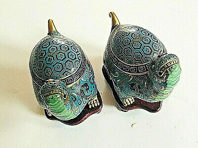 Beautiful Chinese Cloisonne Turtles with turquoise ground.