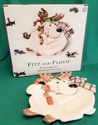 Fitz And Floyd Plaid Christmas Reindeer Ceramic Canape Plate ~ New in Box