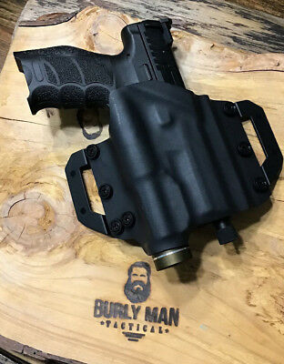 Burly Man Tactical OWB Kydex holster: Fits H&K Handguns With Light Black Kydex