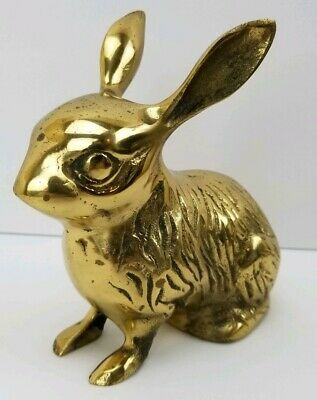 Solid Brass Bunny Rabbit Figurine Paperweight Korea Easter Decor Big Ear