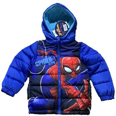 Boys Kids Children Spiderman Fleece Lined Hooded Padded Winter Jacket 3-8 Years