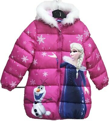 Girls Kids Disney Frozen Fleece Lined Hooded Padded Winter Jacket 3-8 Years