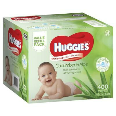Huggies Cucumber & Aloe Wipes 400 Pack Triple Clean Technology Extra Thick