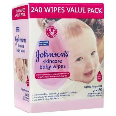 Johnson's Baby Wipes Skincare Lightly Scented 3x80 Pack Enriched Moisturisers
