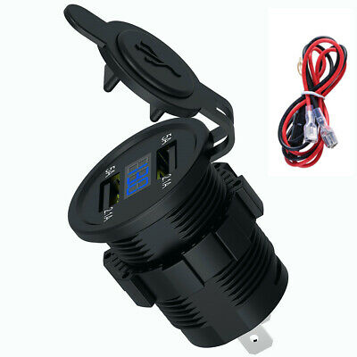 4.2A Car Cigarette Lighter Socket Dual USB Charger Adapter LED Voltmeter 12V-24V