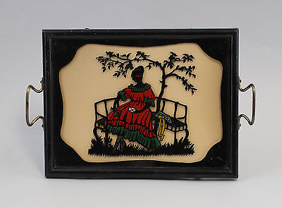 99880066 Tray um 1900 behind Glass Picture Paper Cutting Lady
