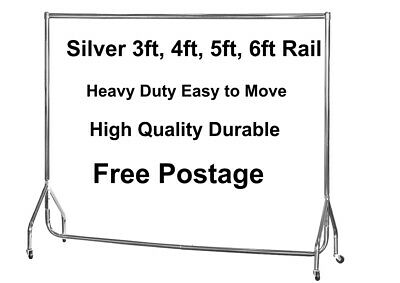 HEAVY DUTY Clothes Rails SILVER 3ft,4ft,5ft,6ft Garment Hanging Shop Displays🔥