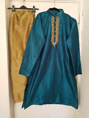 Mens Groom Shirvani Sherwani Asian Indian Wedding Kameez Size XXL 48 Blue