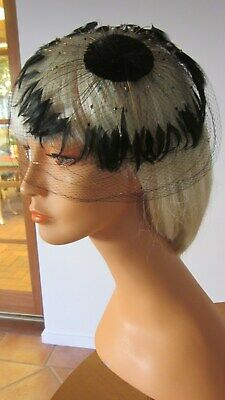 1950,s original beaded/feathered cocktail headpiece.