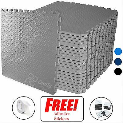 Interlocking GREY Heavy Duty EVA Foam Gym Flooring Floor Mat Tiles 60X60X1 cm