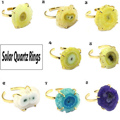 Best Colorful Natural Solar Quartz Gold Plated Prong Setting Adjustable Ring