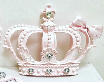 Pink Crystal Canopy Princess Cot Bed Wall Crown Voile Drape Bedroom Decor