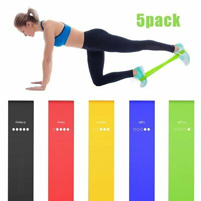 Gym Resistance Bands Set 5 Loop Home Exercise Keep Fit Physio Fitness Health