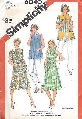 Vintage Women's 1980's House Dress Smock Top Sewing Pattern UNCUT 20 22 24