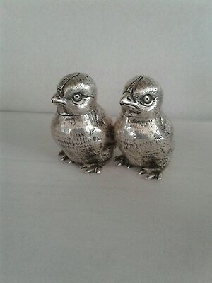 Pair Antique Novelty Silver Chick Pepper Shaker 1905
