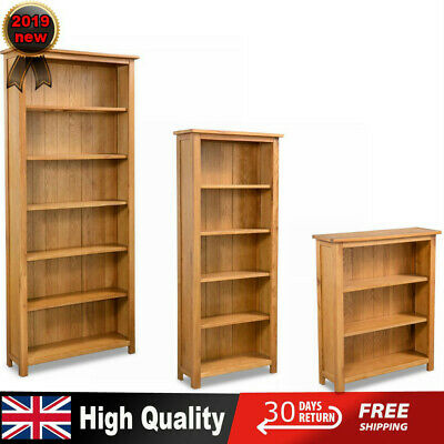 Oak Bookcase DVD Rack Home Book Shelf Cabinet Display Storage Solid Wood Wooden