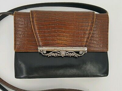 BRIGHTON Black Brown Croc Leather Crossbody Organizer Wallet Clutch