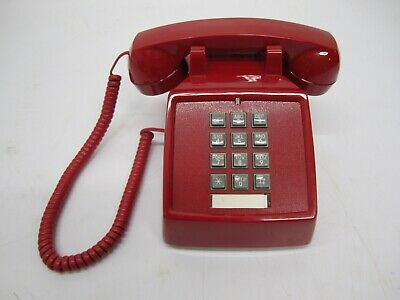 Vtg Style Reproduction Cortelco ITT 250047 Table Phone Touch Tone Button Red