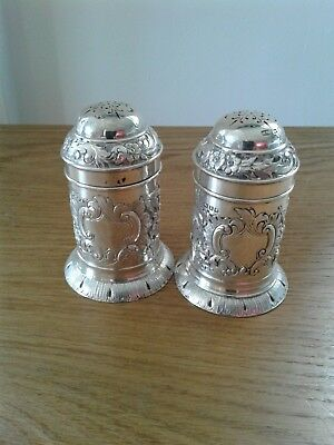 Pair Solid Sterling Silver Chased Pepper Shakers Sheffield 1884