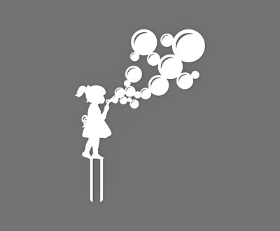 Girl blowing bubbles silhouette Cake Topper 60086