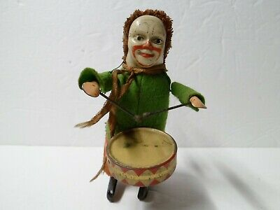 Vintage Schuco Wind Up Tin Toy Germany Clown Drummer With Key - Working