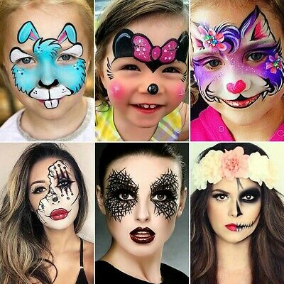 Face Body Paint Kit 12 Colours Palettes Halloween Make Up Painting Art Party Fun