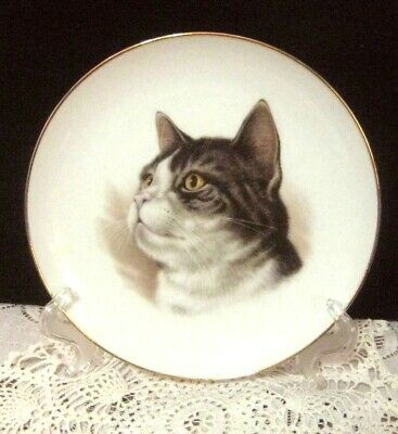"""Gray Tiger Cat Plate by Epco Group Main Street Studios hand painted gold trim 8"""""""