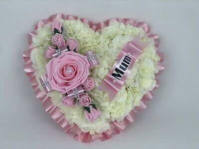Heart Shaped Silk Artificial Funeral Flowers Wreath Memorial Grave Tribute Pink
