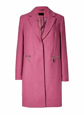 New Ex Marks And Spencer Pink Wool Blend Single Breasted Coat Jacket Size 6-22