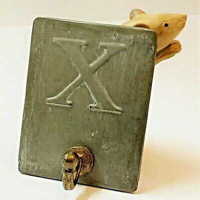 "Small Pressed Metal ""X Marks the Spot"" Coat Hook, Wall / Door Mount 11x9cm"