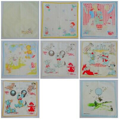 Vintage Nursery Handkerchief Hanky Printed Childrens Cartoon Characters