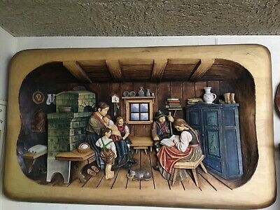 Vintage Super Rare! German Hand Carved Wood Wall Plaque Huge! 3D Carving!